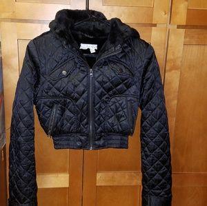 Black Quilted Hooded Short Jacket